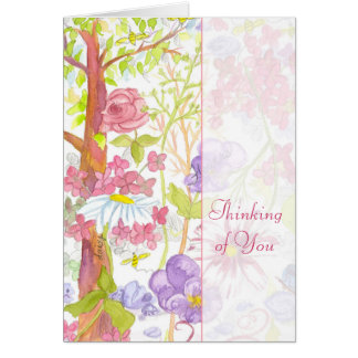 Thinking of You Pink Roses Pansies Leaves Card