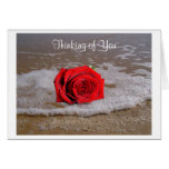 Thinking of You Red Rose On Beach Greeting Card