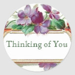Thinking of You Retro Style Vintage Floral Violets Classic Round Sticker