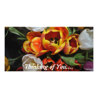 Thinking of You Roses Pop with Color  Photo Card