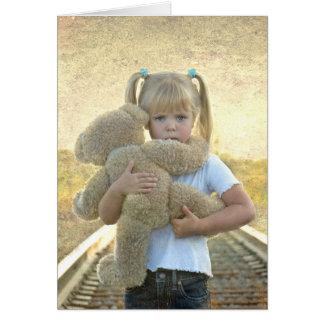 thinking of you-sad girl with teddy bear card