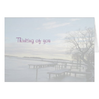 Thinking of you snowy bridge at a lake card