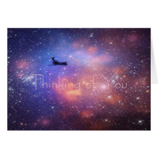 Thinking of you Space Airplane Note Card