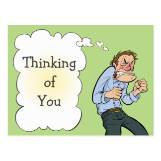 Thinking of you thought Balloon Guy card Post Cards