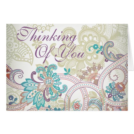 Thinking of You - Vintage India Style Art - 2 Greeting Card