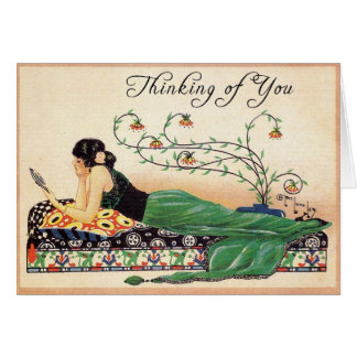 Thinking of You... Vintage Print Stationery Note Card