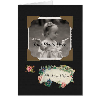 Thinking of You Vintage Scrapbook Roses Photo Card
