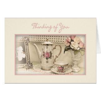THINKING OF YOU - Vintage Tea Set Greeting Card