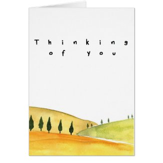 Thinking of you watercolor landscape card