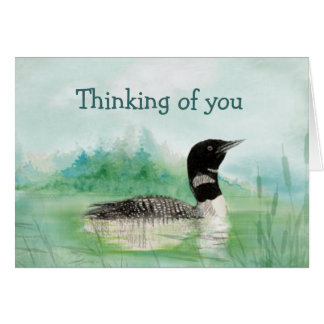 Thinking of You Watercolor Loon Bird Nature Greeting Card