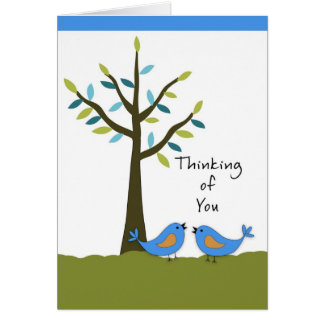 Thinking of You with Two Blue Birds and Tree Cards