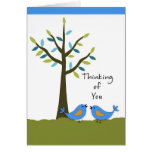 Thinking of You with Two Blue Birds and Tree Greeting Card