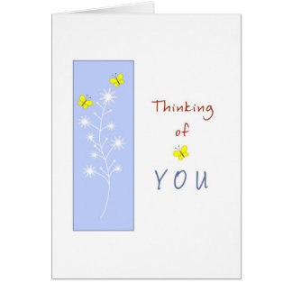 Thinking of You with Yellow Butterflies Greeting Cards