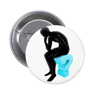 Thinking on question mark silhouette pinback buttons