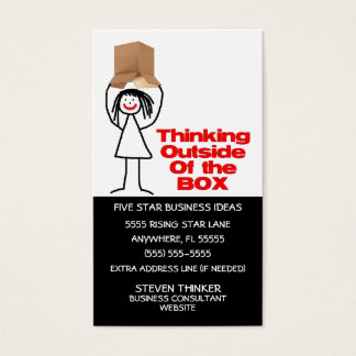 Thinking Outside The Box Cartoon Business Card
