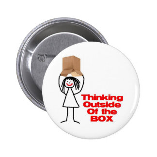 Thinking Outside the Box Cartoon Buttons