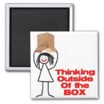 Thinking Outside the Box Cartoon 2 Inch Square Magnet
