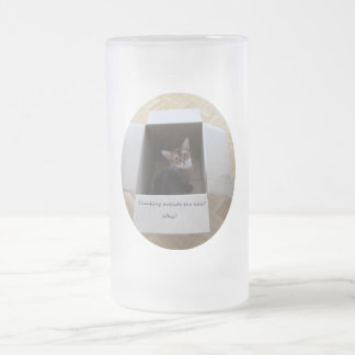Thinking Outside the Box Frosted Glass Beer Mug