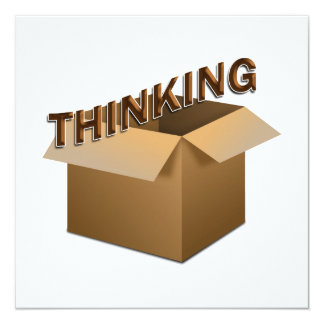Thinking Outside The Box 5.25x5.25 Square Paper Invitation Card