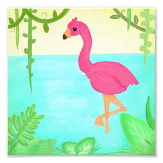 Thinking Pink Flamingo Photo Print