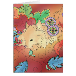 Thinking Pomeranian card (blank)