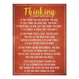 Thinking - Powerful Motivational Poem Poster