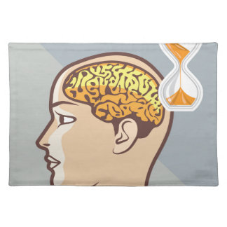 Thinking Process Brain and Sand Clock Cloth Placemat