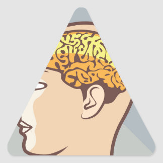 Thinking Process Brain and Sand Clock Triangle Sticker