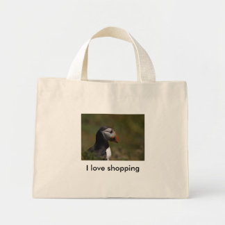 Thinking Puffin, I love shopping Tote Bags