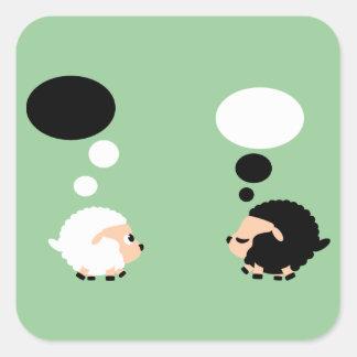 thinking sheep square sticker