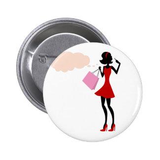 Thinking Shopping Girl Pinback Button