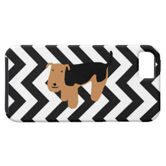 Thinking Welsh Terrier iPhone Case w/ Chevron iPhone 5 Cases