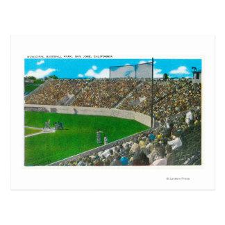 Third Base Line View of Municipal Baseball Postcard