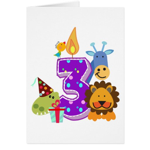 Third birthday Animal friends of the jungle Greeting Cards