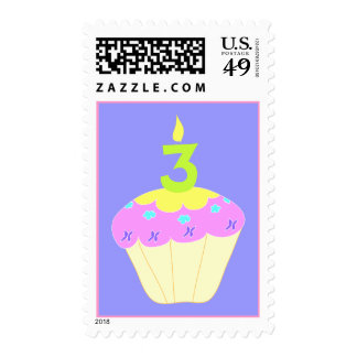 Third Birthday Cupcake Stamp in Pink and Purple