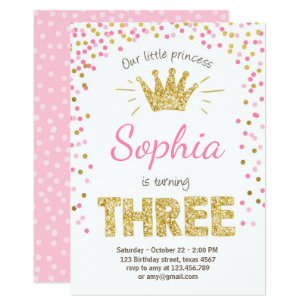 Third birthday invitations announcements zazzle third birthday invitation princess gold pink three filmwisefo Images