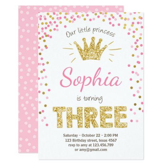 third birthday invitation princess gold pink three zazzle com