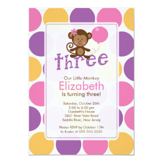 Third Birthday Little Monkey Birthday Invitation