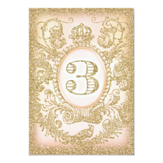 Third Birthday Once Upon a Time Princess 5x7 Paper Invitation Card