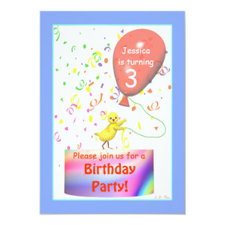 Third Birthday Party Chicken Card
