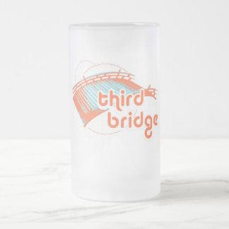 third bridge. orange&blue. frosted glass beer mug