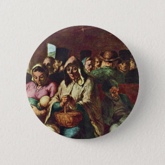 Third-Class Compartment By Daumier Honoré Button