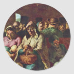 Third-Class Compartment By Daumier Honoré Round Stickers