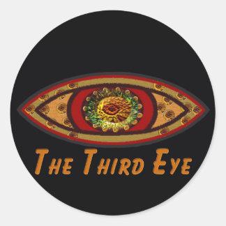 Third Eye - Black Print with Caption by Manda Classic Round Sticker