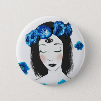 Third eye Chakra blue rose Button