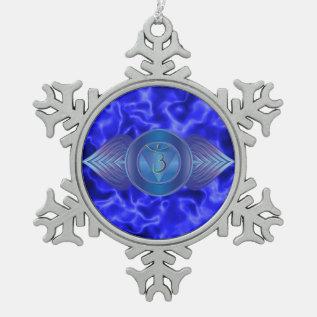 Third Eye Chakra Pewter Snowflake Ornament at Zazzle