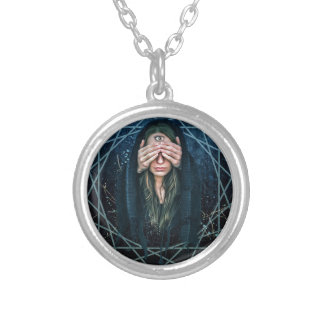 Third Eye Eye Spiritual Intuition Symbol Silver Plated Necklace