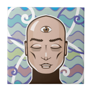 Third Eye vector Illustration Small Square Tile