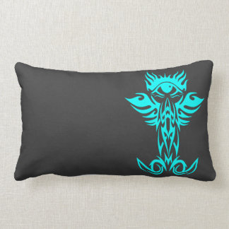Third eye with wings cyan lumbar pillow