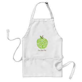 Third Grade Teacher Apron - Green Apple